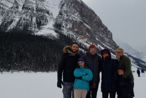 Jesse Meyer with family at the mountains